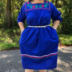 Vintage Dresses - NEW Midi Dress Boho Vintage Blue Floral